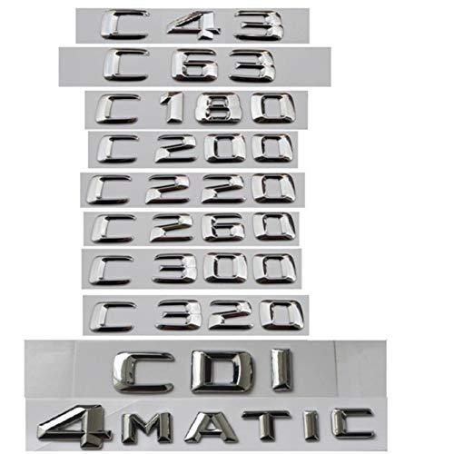 (For Mercedes Benz C Class C63 C43 C55 AMG C180 C200 C220 C300 C320 C350 4MATIC CDI Trunk Emblem Badge Chrome Letters Emblems (C300))