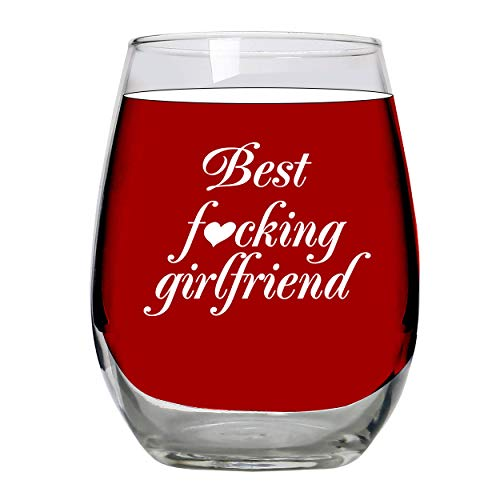 Girlfriend Gifts - Large Stemless 15 oz wine glass Gift idea/presents for my girlfriend, from boyfriend, for her, long distance relationship, anniversary, best friend (Best Birthday Present For My Girlfriend)