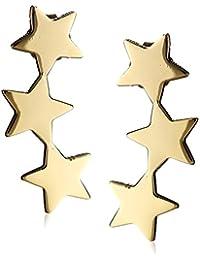 14k Yellow Gold Star Dangle Earrings