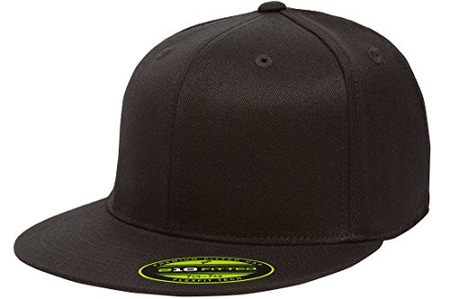 Flexfit/Yupoong Men's 210 Fitted Flat Bill Cap, Black, (Womens Fitted Cap)