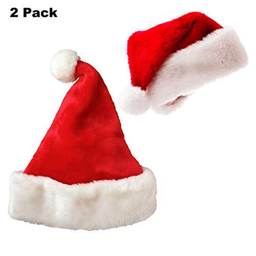 Plush Red Holiday Christmas Santa Hats (2 -