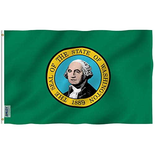 Anley Fly Breeze 3x5 Foot Washington State Flag - Vivid Color and UV Fade Resistant - Canvas Header and Double Stitched - Washington WA Flags Polyester with Brass Grommets 3 X 5 Ft