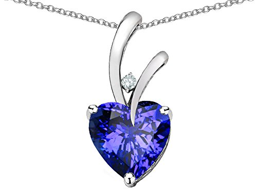 Star K Heart Shape 8mm Simulated Tanzanite Endless Love Pendant Necklace 10 kt White Gold