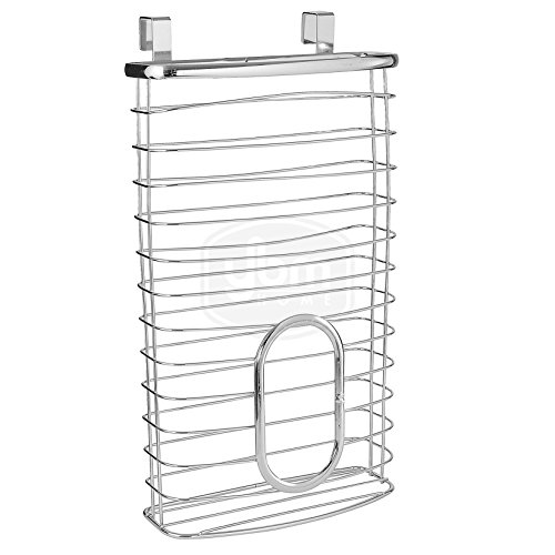 (Ybmhome Over-the-Cabinet Kitchen Storage Grocery Bag Plastic Carrier Shopping Bag and Garbage Bag Holder Saver Dispenser Rack Stainless Steel 2216 (1))