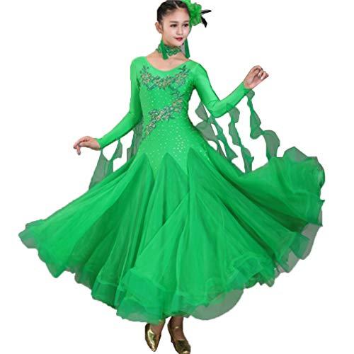 De Salon Robes Tulle l Femmes Jupe Costume Tenue Green Tango Performance Moderne strass Wqwlf Zumba Concours Danse Valse Pour jR35q4LA