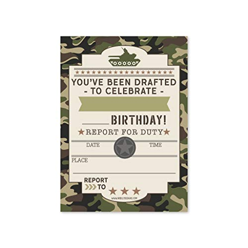 25 Camo Army Kids Birthday Party Invitations, Boy Sleepover Camouflage Military Themed, Tank Soldier Children or Toddlers Bday Scout Camp Theme Printable Supplies, Printed or Fill in The Blank Cards]()