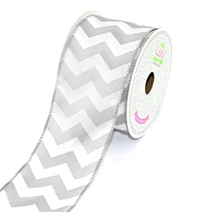 LUV RIBBONS by Creative Ideas 2-1/2-Inch Large Chevron Print Ribbon, 10-Yard, Silver