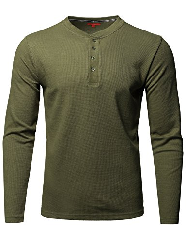 (Youstar Premium Quality Thermal Henley Crew Neck Long Sleeve T-Shirt Olive Size S )