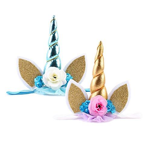Cute Unicorn Horn Headband,Shiny Unicorn Horn Glitter Elastic Headband Spiral Unicorn Horn Cosplay (B) -