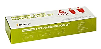 oGrow High Quality 3 Piece Gardening Tool Set: Trowel, Transplanter and Cultivator