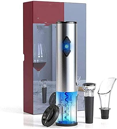 Kit de sacacorchos de vino eléctrico con cortador de papel de aluminio, tapón de vacío, vertedor de vino, kit de sacacorchos automático de acero inoxidable