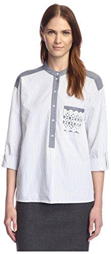 Rue 58 Women's Striped Boy Shirt, Oxford Stripe Blue, (Boys Stripe Oxford)