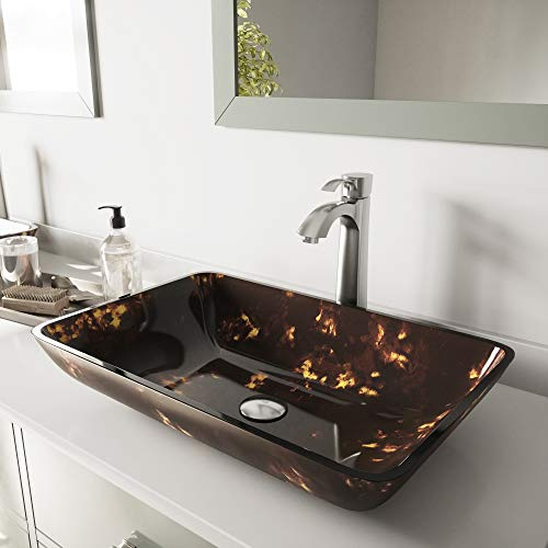 VIGO Rectangular Brown and Gold Fusion Glass Vessel Bathroom