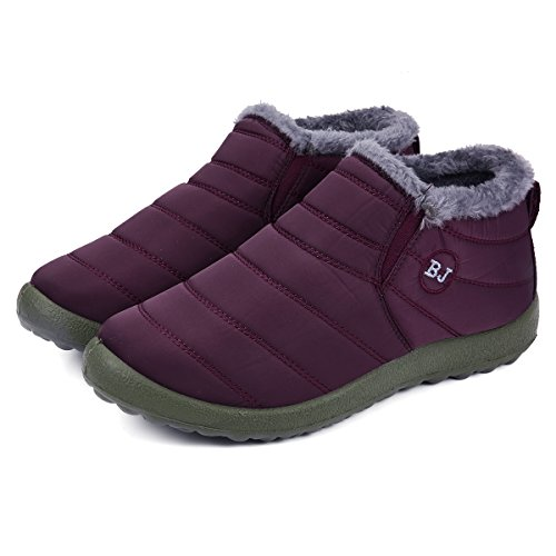 (gracosy Winter Snow Ankle Boots Fur Lining Waterproof Outdoor Slip On Booties Sneakers for Man and Women Red Women 5 B(M))
