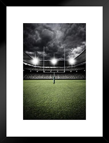 Poster Foundry Football Field Goal Uprights Stadium Vintage Dramatic Enhanced Photo Matted Framed Wall Art Print 20x26 inch ()