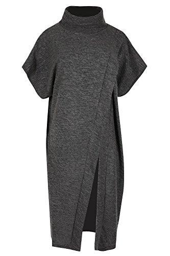 Oops Outlet - Poncho / jersey / capa / chal para mujer, piel de punto, envolvente, cuello de cisne gris oscuro