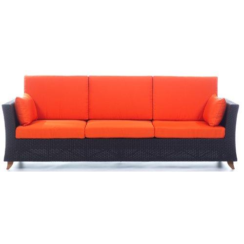 All Things Cedar PR90o Rattan 4 Seater All Weather Wicker Sofa with Cushion, Orange