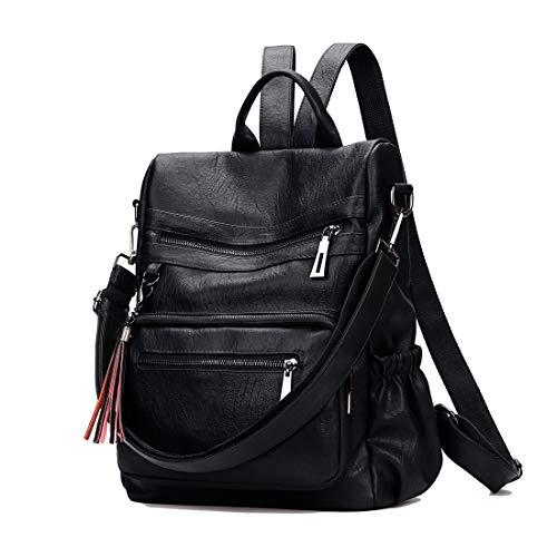 Artwell Women Anti-theft Backpack Purse Leather Ladies Convertible Rucksack Travel Shoulder Bag Tote Handbag (Black)