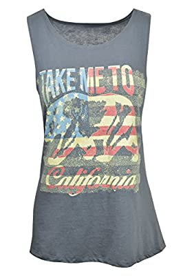 Plus Size Tops Racerback Womens Tanks - Cotton Top with California Bear