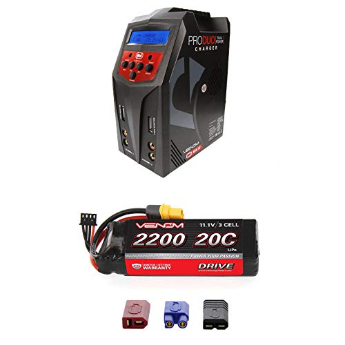 (Venom 20C 3S 2200mAh 11.1 LiPo Battery with Universal Plug and Venom Pro Duo 80W X2 Dual AC/DC 7A LiPo & NiMH RC Battery Balance Charger Money Saving Combo)