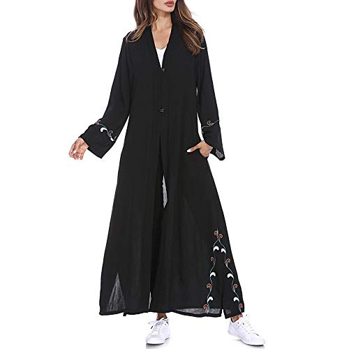 Clearance!Muslim Women Islamic Embroidered Floral Print Trumpet Sleeves Cardigan Long Coat Middle East Long Robe (L, Black)