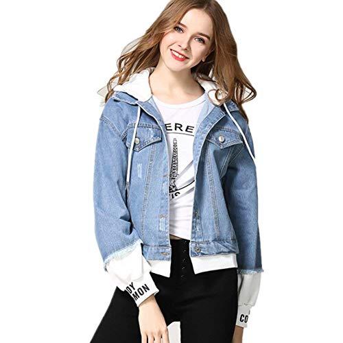 Primaverile Cappotto Sportivo Jeans Bianca Fashion Incappucciato Chic Elegante Ragazza Cucitura Maniche Lunghe Ragazze Casual Giacca Stampati Digitale Donna Outwear Autunno vRc8Hq8
