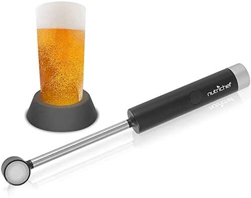 Portable Electric Ultrasonic Drink Frother - Battery Operated Handheld Beer Foam Maker Machine w/Stainless Steel Wand, 4.93 oz Glass - for Coffee, Milk, Cappuccino Latte - NutriChef PKBRFM32 (Black)