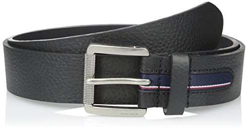 Leather Pebbled Buckle Belt (Tommy Hilfiger Men's 1 1/2 in.Gnarled Buckle with Signature Stripe Ribbon)