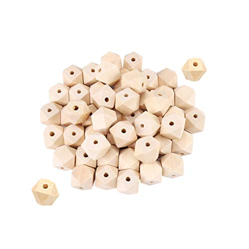 Geometric Wood Bead - Natural Color Polygon Shape - DIY Polyhedron Faceted Cube Wooden with Hole for Handmade Necklace Bracelet (100 pcs, 10mm x 10mm, 0.39 inch x 0.39 inch)