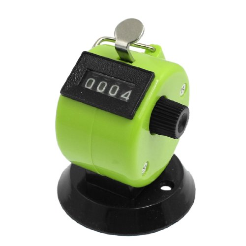 Hinged Round Base (Uxcell s13061500am1715 Round Base Resettable Hand Clicker Golf 4 Numbers Tally Counter Green Black)