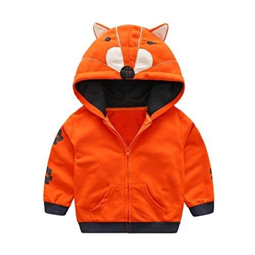 Baby Boy Girl Coat Infant Toddler Kids Cartoon Animal Hooded Jacket with Zipper by Laimeng (3T, Orange)