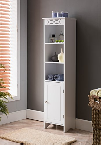 Storage Tower Furniture (Kings Brand Furniture White Finish Wood Tower Bath Storage Cabinet)