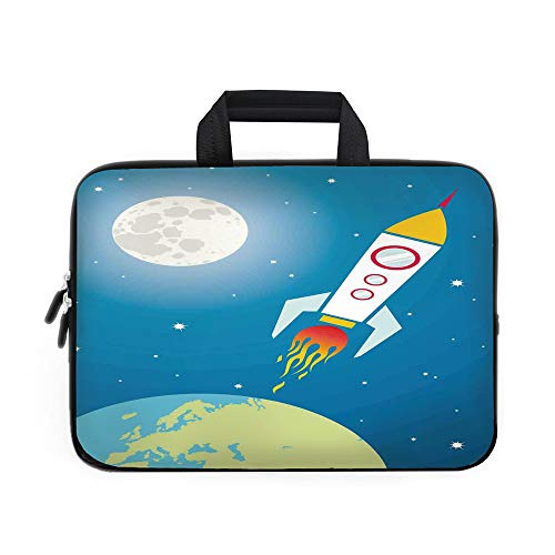 - Kids Laptop Carrying Bag Sleeve,Neoprene Sleeve Case/Rocket Galaxy Astronaut Spaceship Shuttle Universe Travel Moon Stars and Earth Decorative/for Apple MacBook Air Samsung Google Acer HP DELL Lenovo