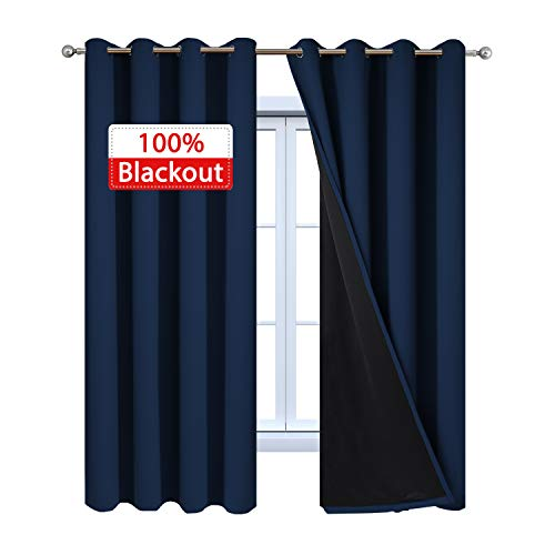 Yakamok 100% Blackout Curtains with Black Liners, Thermal Insulated Full Blackout 2-Layer Lined Drapes Room Darkening Curtain Panel for Bedroom(Navy Blue, 2 Panels, 52