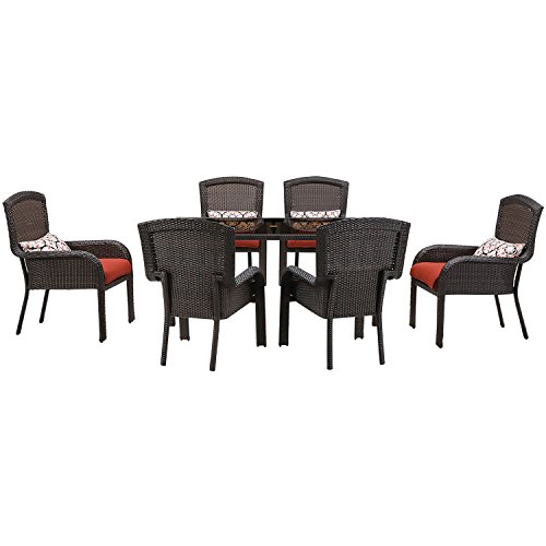 Hanover Strathmere Dining Set (7-Piece) Crimson Red STRADN7PC-RED