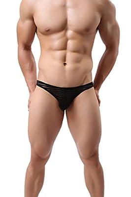 ONEFIT Men's Striped Mesh Briefs Low Waist U Convex Sexy Translucent Bikini