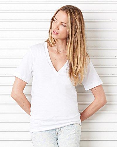 (Canvas mens Unisex Jersey Short-Sleeve Deep V-Neck T-Shirt(3105)-RED-L)