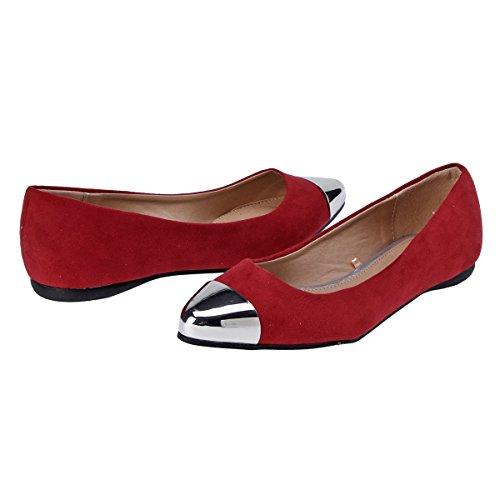 Damara Zapatos Con Punta Bailarinas Con Metal Boca Baja Para Mujer Rojo