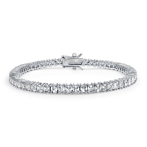 Bling Jewelry Cubic Zirconia Square AAA CZ Channel Set Asscher Cut Tennis Bracelet for Women Brides Prom Silver Plated Brass