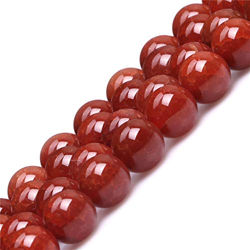 12mm Red Crackle Agate Beads for Jewelry Making Natural Semi Precious Gemstone Round Strand 15
