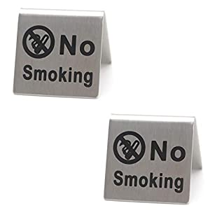 8 Pcs Mini Stainless Steel No Smoking Sign, Vertical No Smoking Warning Sign, Standing No Smoking Logo Indicator, 2 inch X 2 inch