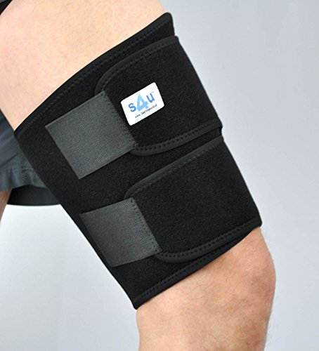 S4U EasyBreathe Neoprene Breathable Deluxe Extra Comfort Thigh & Hamstring Support, OneSize, Black by Sourcing4U