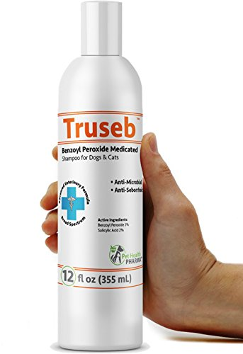 Truseb | #1 Benzoyl Peroxide Medicated Shampoo for Dogs & Cats Anti Microbial & Deodorizing,Anti Seborhheic,Dandruff,Itch, Acne,Folliculitis -Adv. Vet Formula USA by Pet Health Pharma