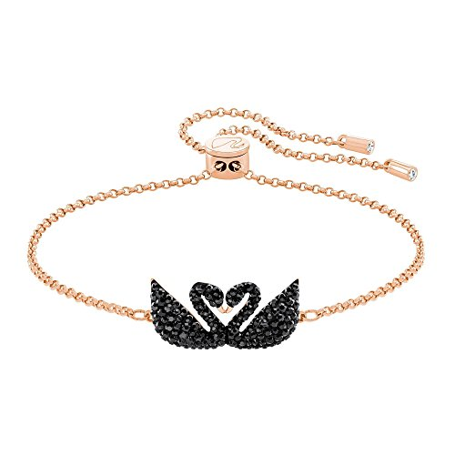 Swarovski Crystal Black Rose Gold-Plated Iconic Swan Bolo Bracelet