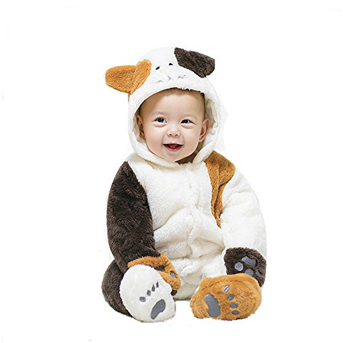 MagicQK Toddler Costume, Winter Baby Kitty Jumpsuit Christmas from Newborn to 18 Months (0-3M/22, White)