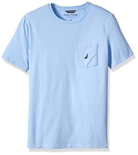 Nautica Men's Big and Tall Solid Crew Neck Short Sleeve Pocket T-Shirt, Noon Blue, - Solid Crew Neck Tee