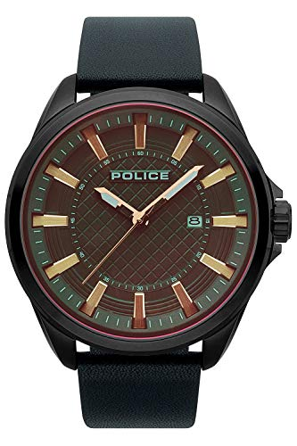 Police Checkmate Mens Analog Quartz Watch with Leather Bracelet R1451297002