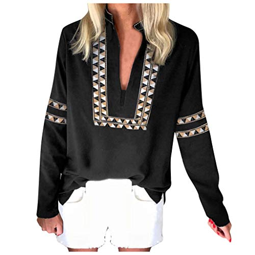 Respctful✿ Women's Casual Boho Embroidered V Neck Long Sleeve Casual Blouse Tee Tops