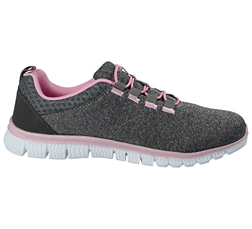 Grey Trainers Running Shoes Lace Sports Foster up Ladies Gym Light Galop Mesh Pink Footwear Casual Lightweight 816109 Comfort q60O6Xx