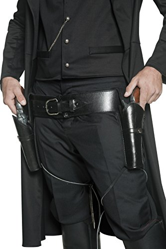 Belt Gun Holster Costume (Smiffy's Adult Unisex Holster Belt, 2 Holsters, Black, One Size, 36171)